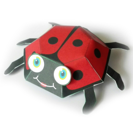 Papercraft imprimible y armable de una Mariquita / Ladybug. Manualidades a Raudales.