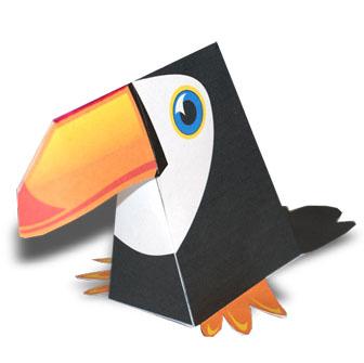 Papercraft imprimible de un tucán / toucan. Manualidades a Raudales.