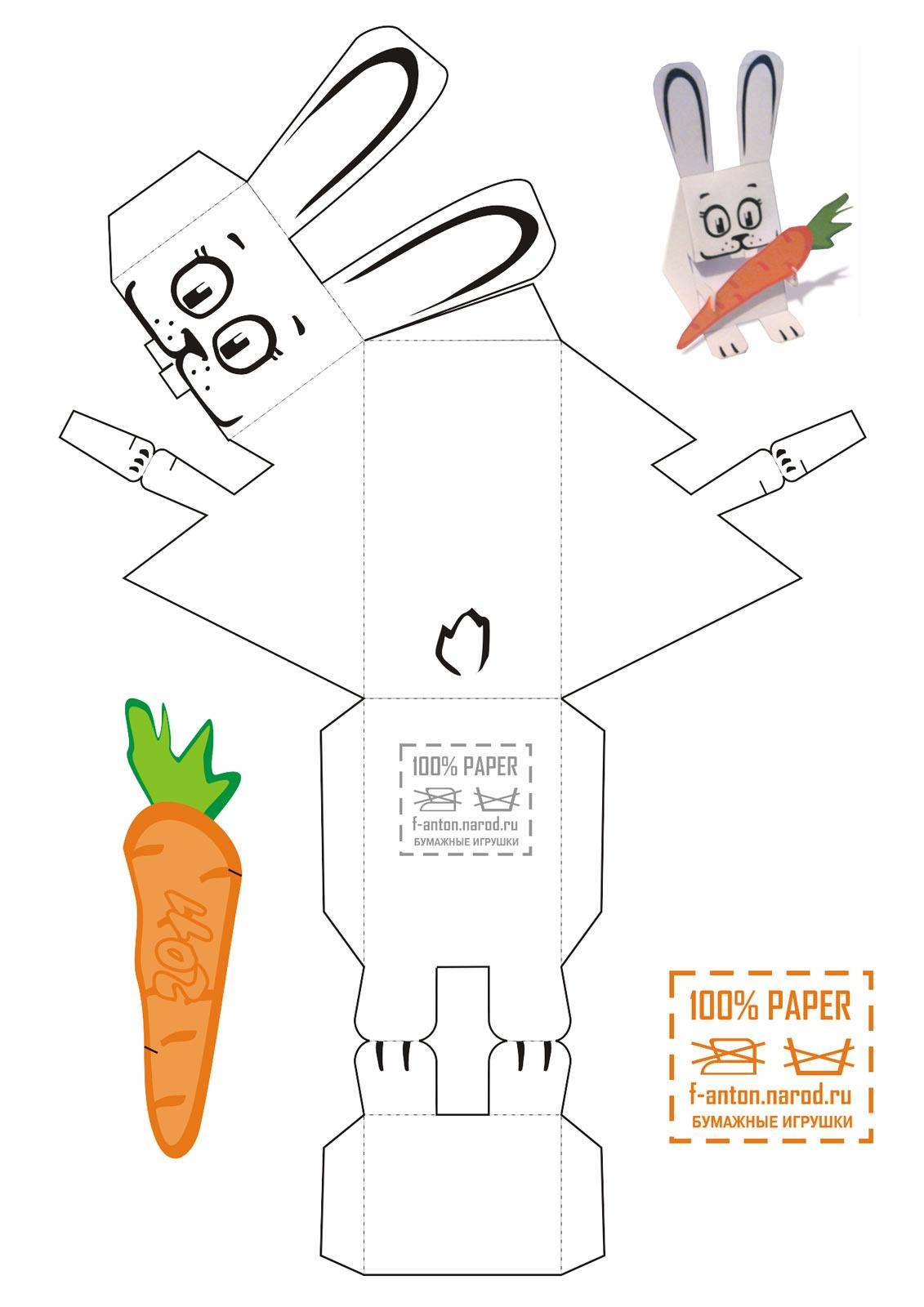Papercraft de un simpático conejo. - Manualidades a Raudales